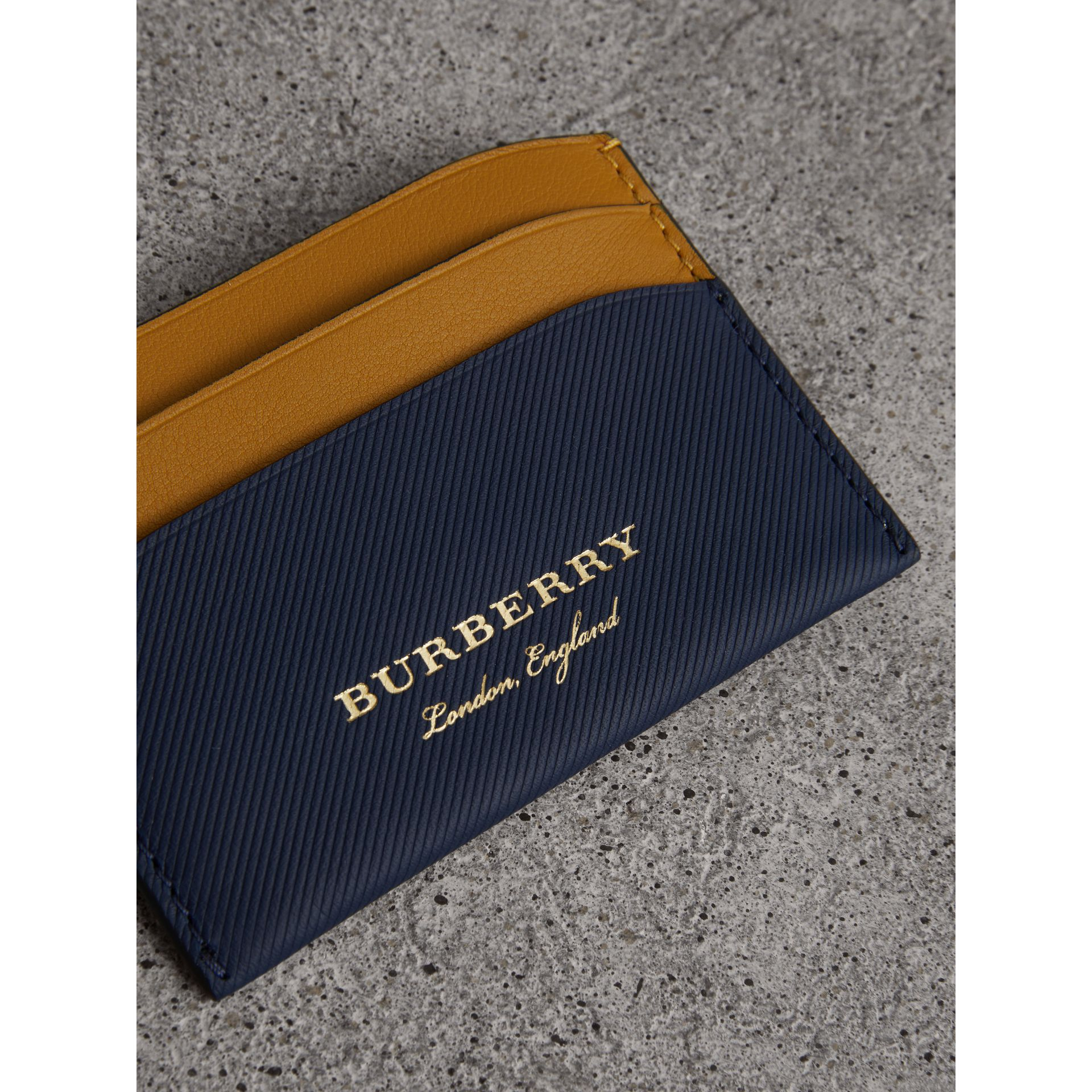 Two-tone Trench Leather Card Case in Ink Blue/ochr Yellow | Burberry - gallery image 1