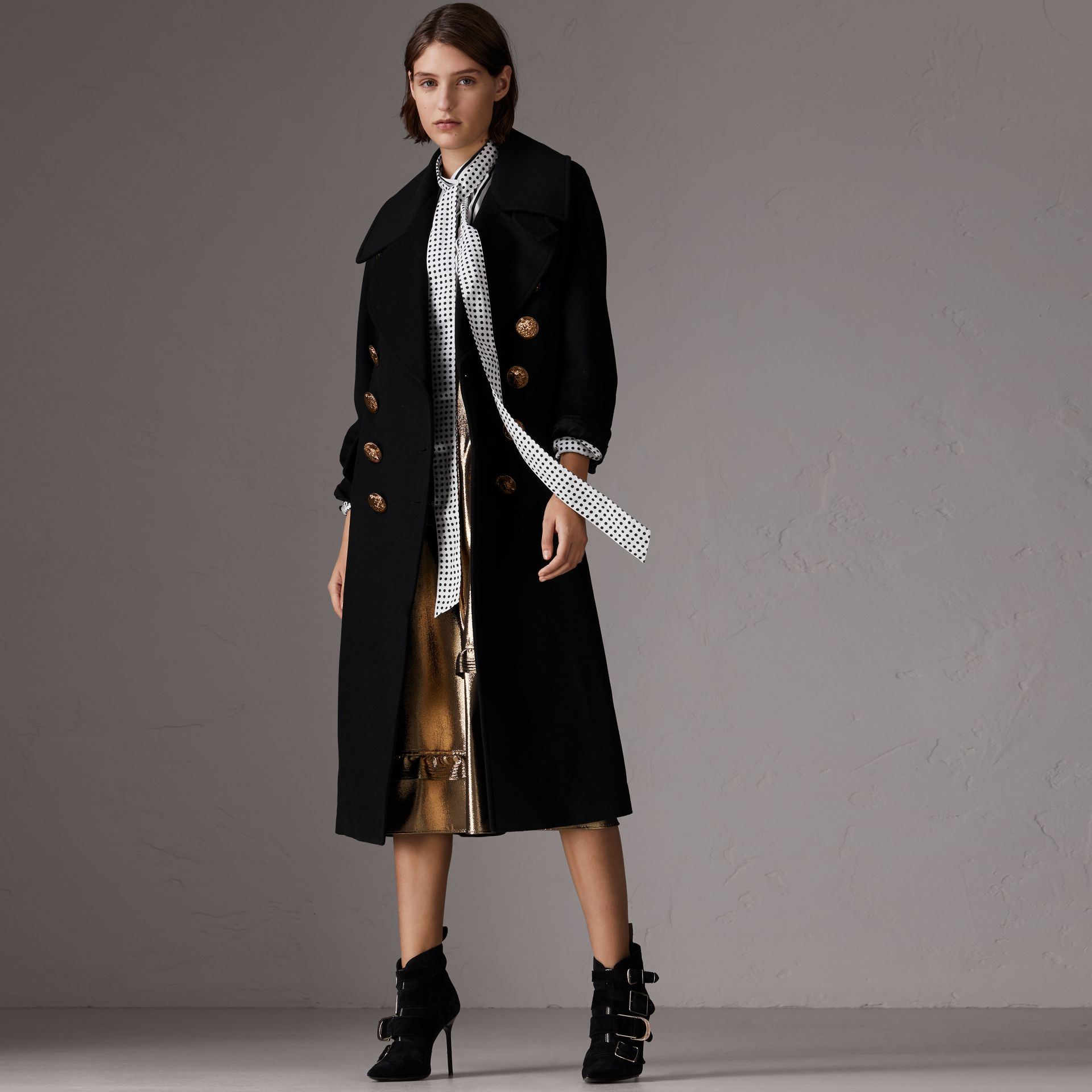 Bird Button Wool Blend Military Coat in Black - Women | Burberry - gallery image 5
