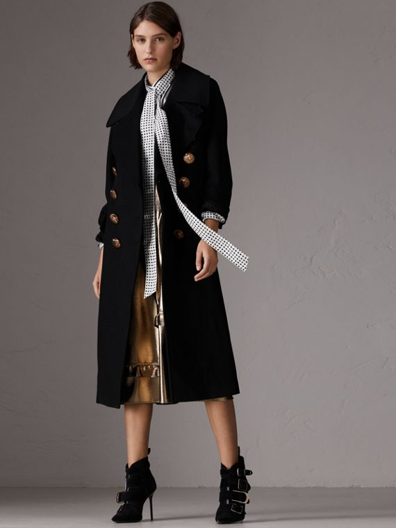 Bird Button Wool Blend Military Coat in Black