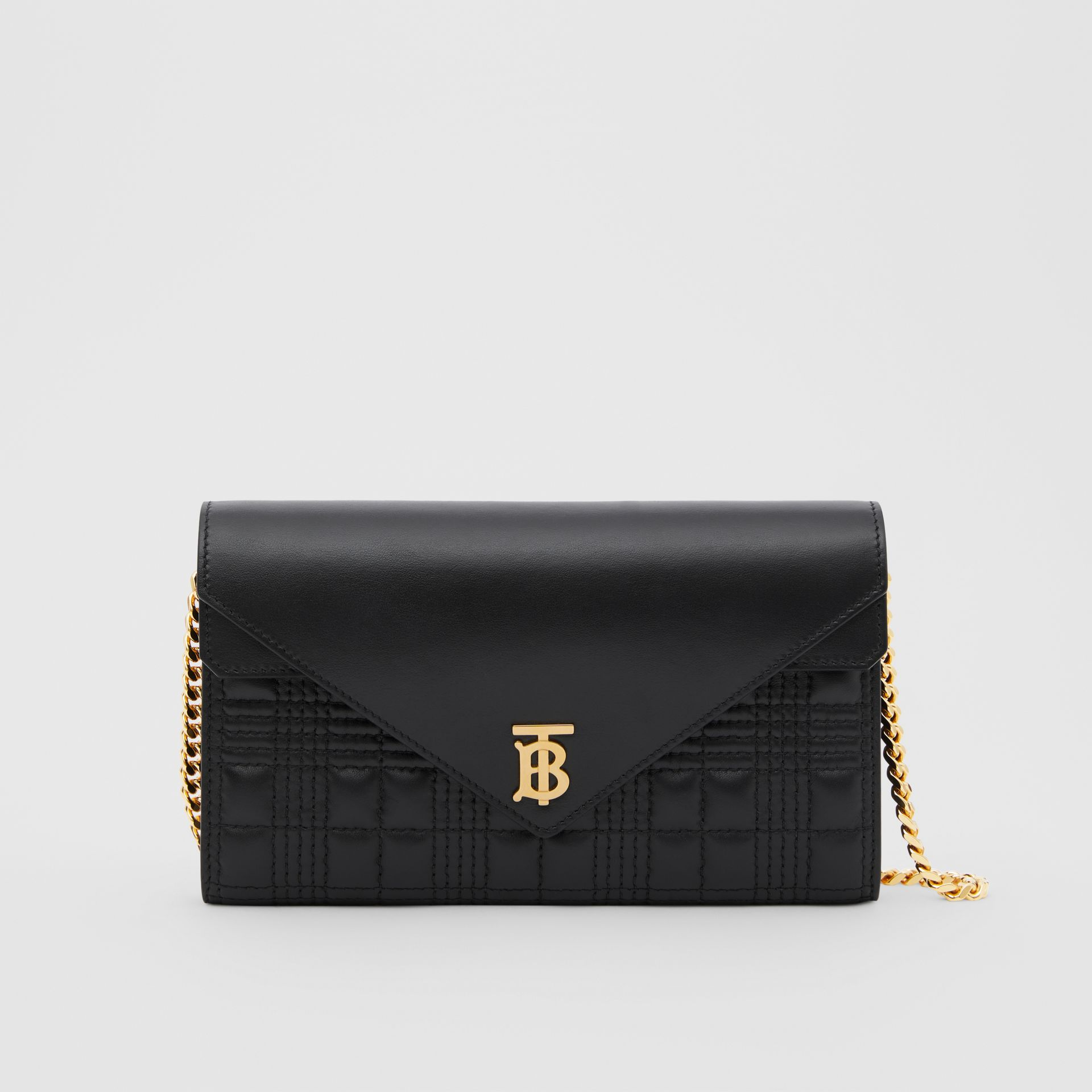 Quilted Lambskin Wallet with Detachable Chain Strap in Black - Women | Burberry United Kingdom - gallery image 0