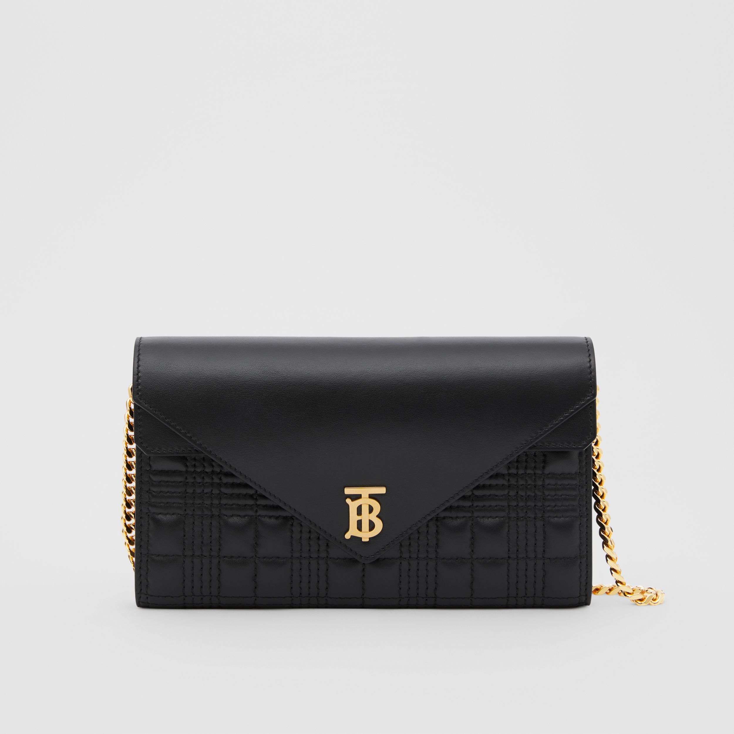 Quilted Lambskin Wallet with Detachable Chain Strap in Black - Women | Burberry - 1