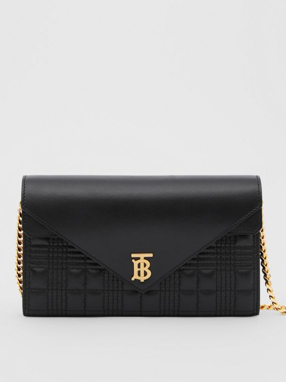 Quilted Lambskin Wallet with Detachable Chain Strap in Black