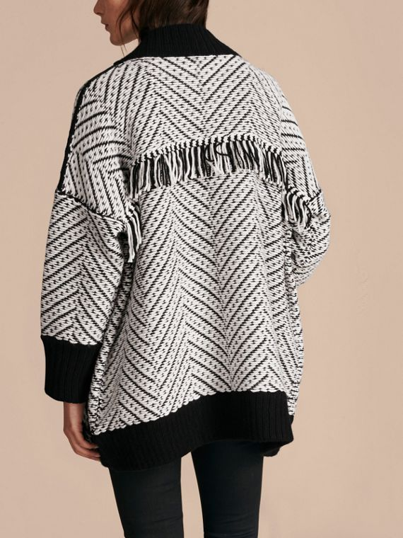 Black Graphic Knitted Wool Cardigan Coat - cell image 2