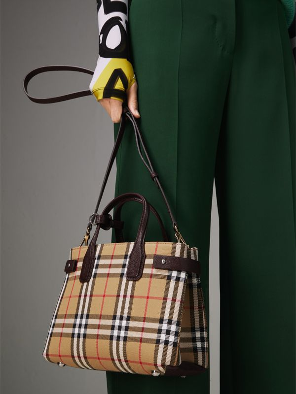The Small Banner in Vintage Check and Leather in Deep Claret - Women | Burberry - cell image 3