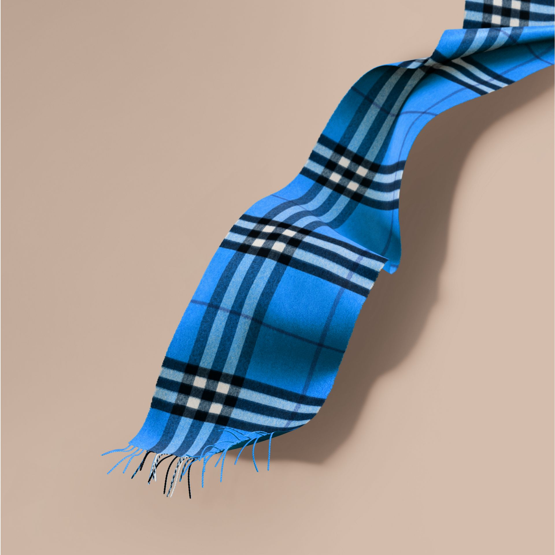 The Classic Cashmere Scarf in Check  Bright Cornflower Blue - gallery image 1