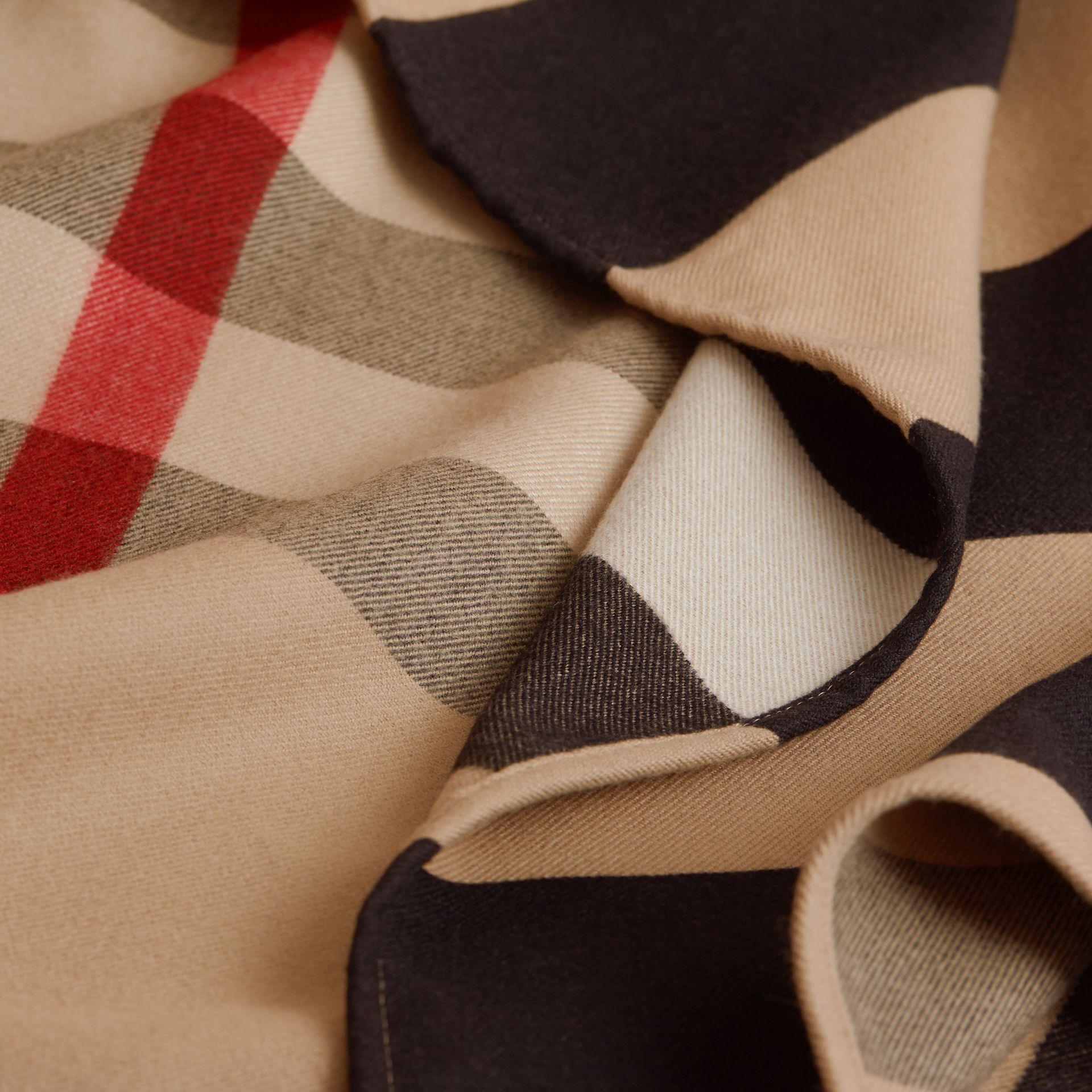 Reversible Stripe and Check Merino Wool Poncho in Camel - Women | Burberry - gallery image 2