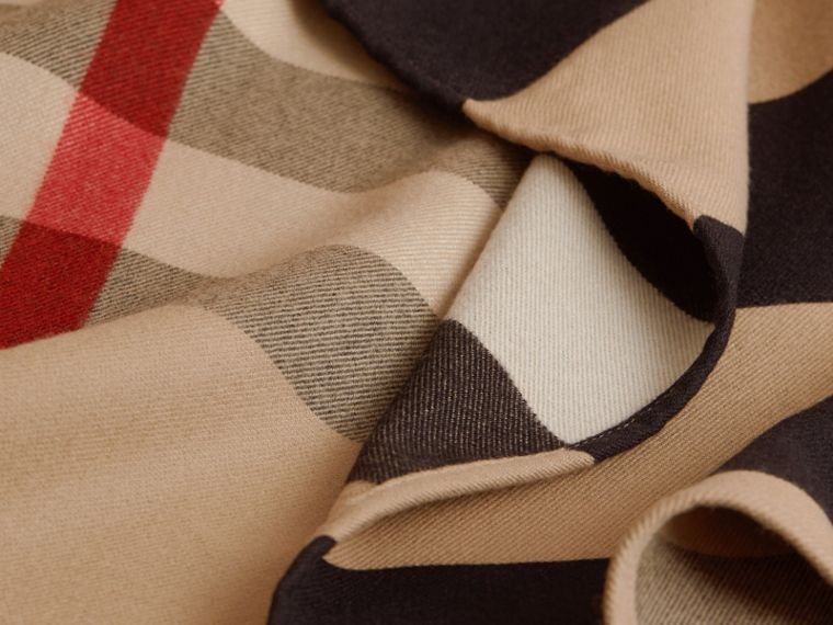 Reversible Stripe and Check Merino Wool Poncho in Camel - Women | Burberry - cell image 1
