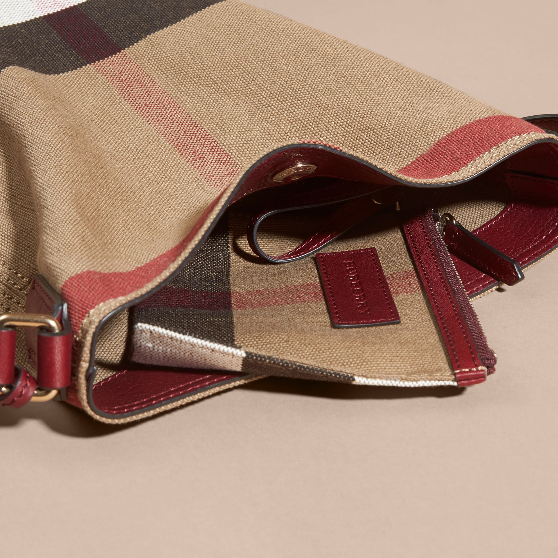 The Small Ashby in Canvas Check and Leather - gallery image 5