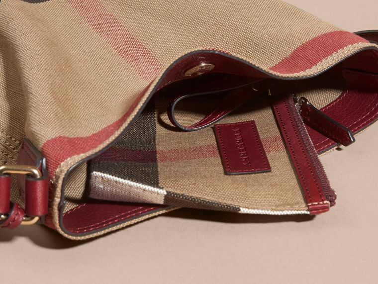 Burgundy red The Small Ashby in Canvas Check and Leather - cell image 4