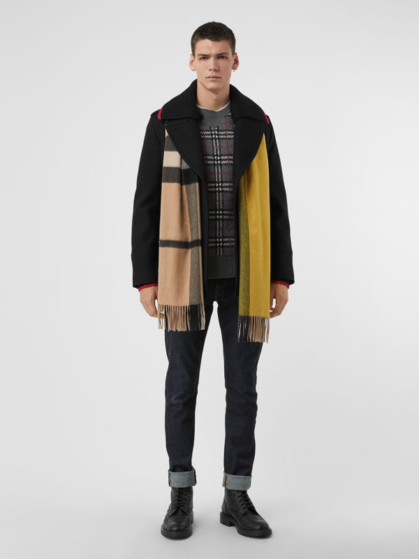 Colour Block Check Cashmere Scarf in Gorse Yellow | Burberry Singapore - cell image 3