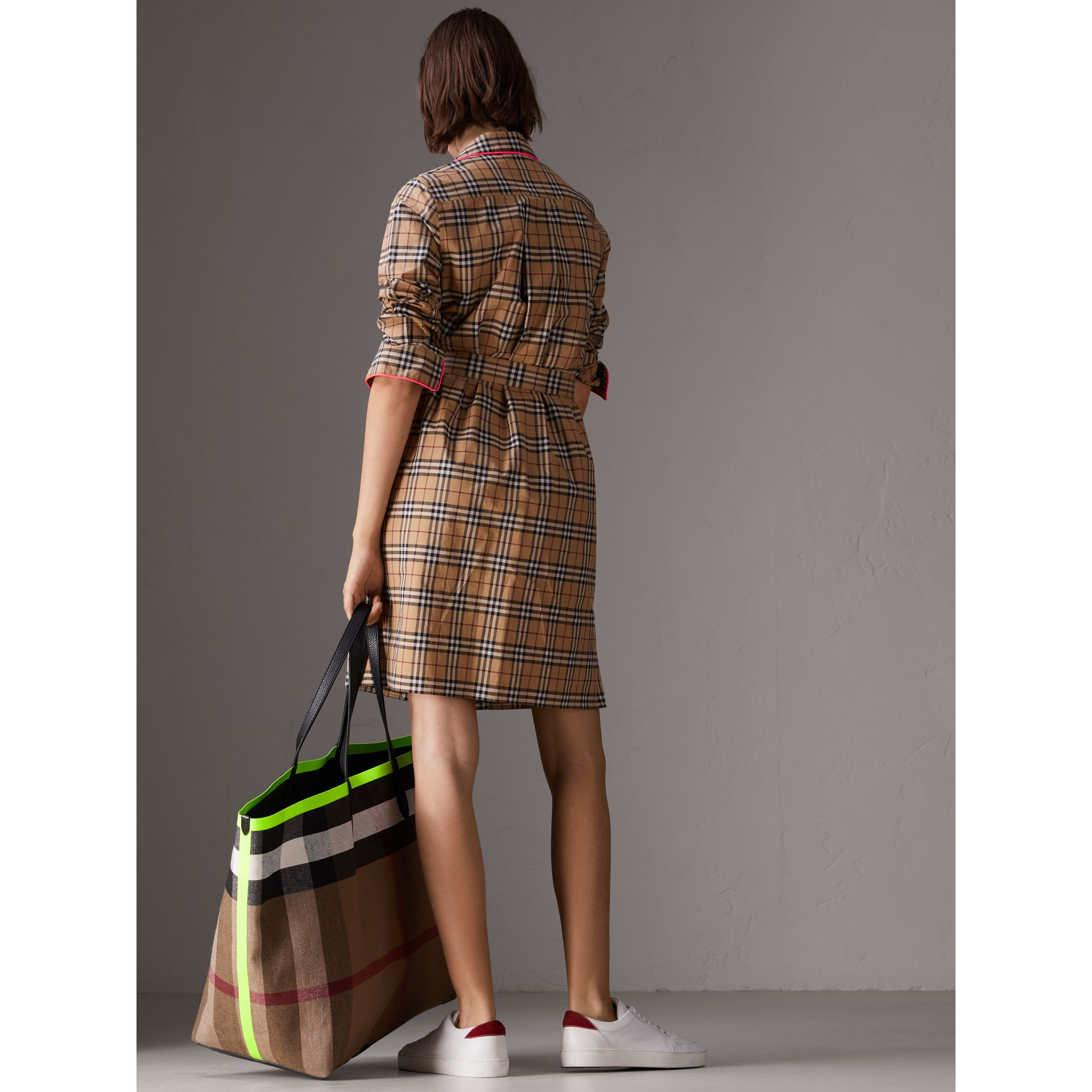 Contrast Piping Check Cotton Shirt Dress in Camel - Women | Burberry - gallery image 2