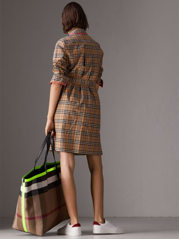 Contrast Piping Check Cotton Shirt Dress in Camel | Burberry - cell image 2