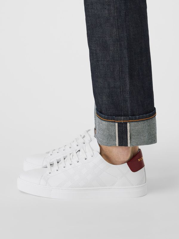 Perforated Check Leather Sneakers in Optic White - Men | Burberry United States - cell image 2