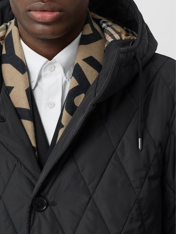 Diamond Quilted Thermoregulated ECONYL® Coat in Black - Men | Burberry United Kingdom - cell image 1
