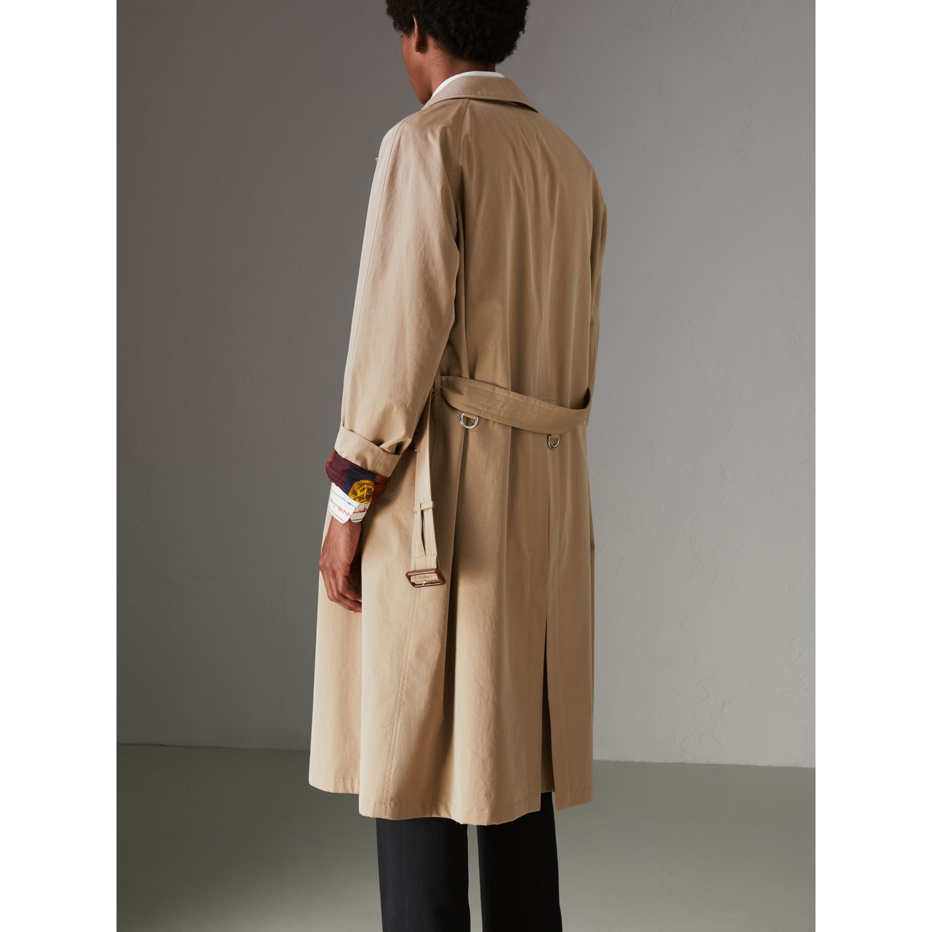 Archive-print-lined Tropical Gabardine Car Coat in Camel - Men | Burberry Singapore - gallery image 2