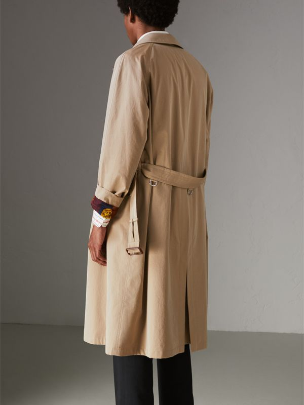 Archive-print-lined Tropical Gabardine Car Coat in Camel - Men | Burberry - cell image 2