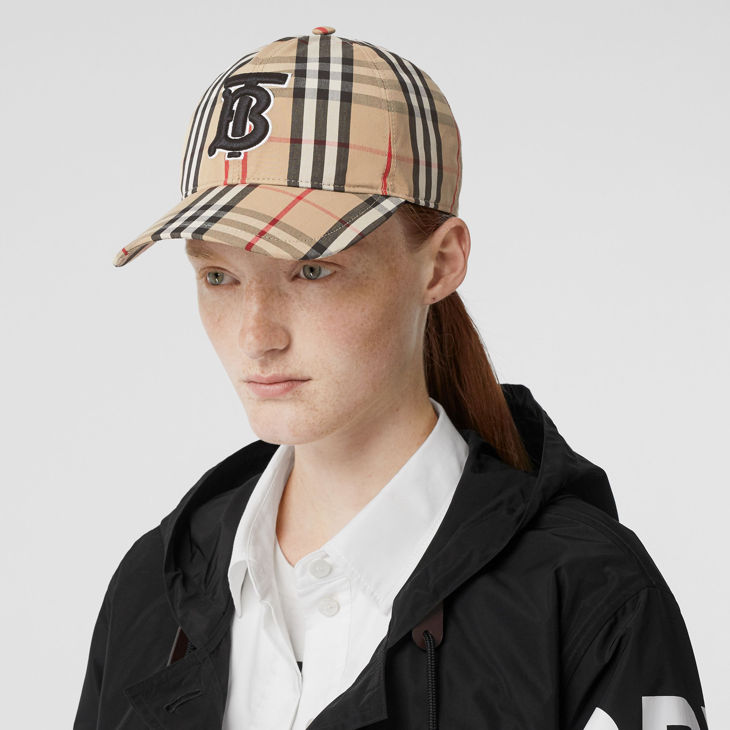 Monogram Motif Vintage Check Cotton Baseball Cap in Archive Beige | Burberry - 3