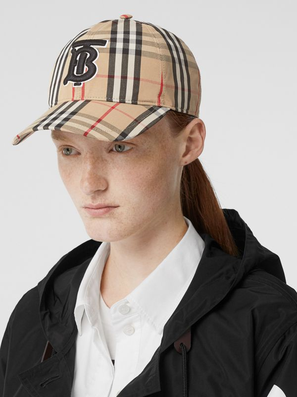 Monogram Motif Vintage Check Cotton Baseball Cap in Archive Beige | Burberry United Kingdom - cell image 2