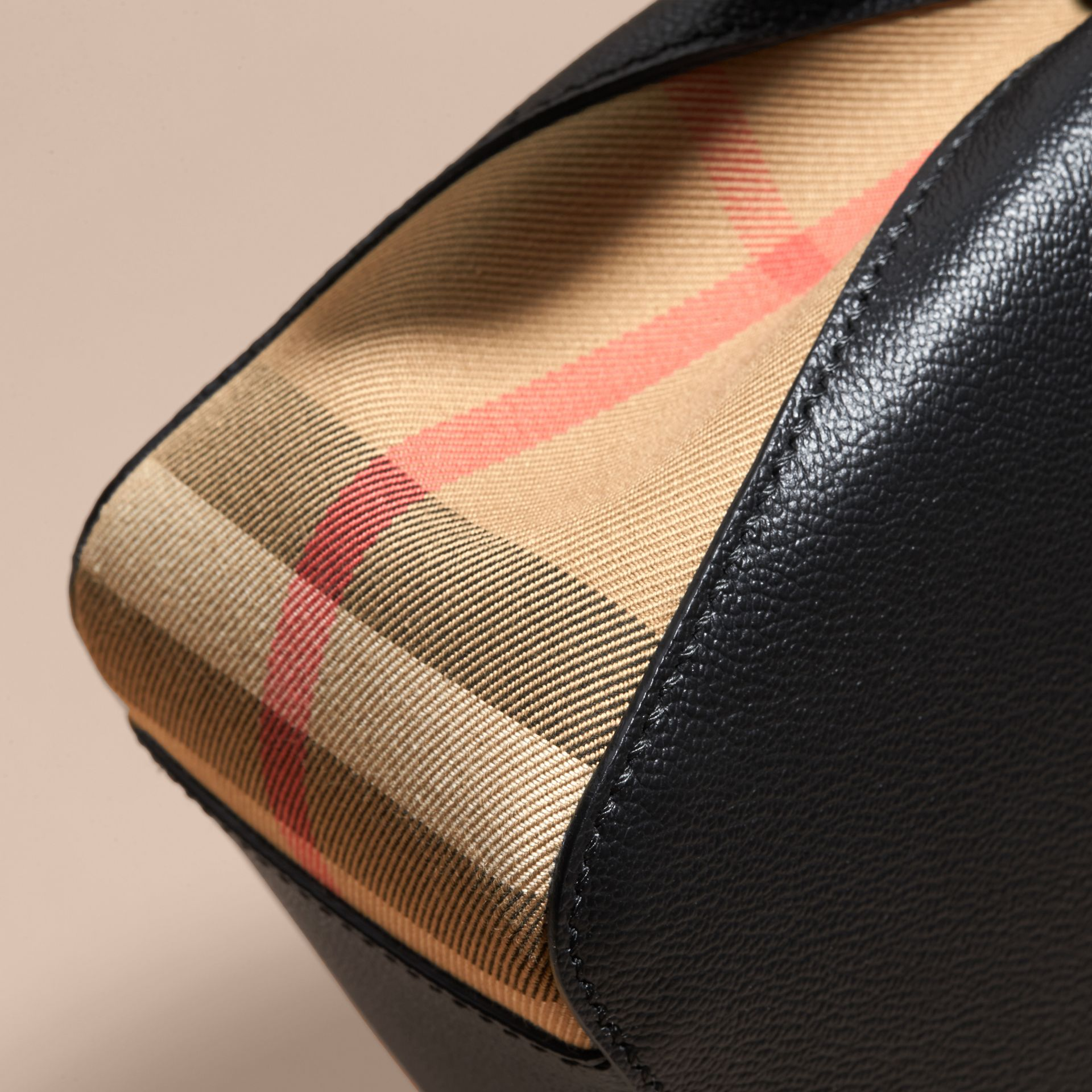 Buckle Detail Leather and House Check Crossbody Bag in Black - Women | Burberry - gallery image 6