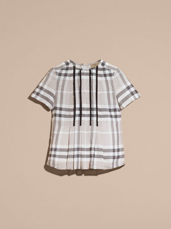 Pale grey Short-sleeved Fringed Check Cotton Top Pale Grey - cell image 3