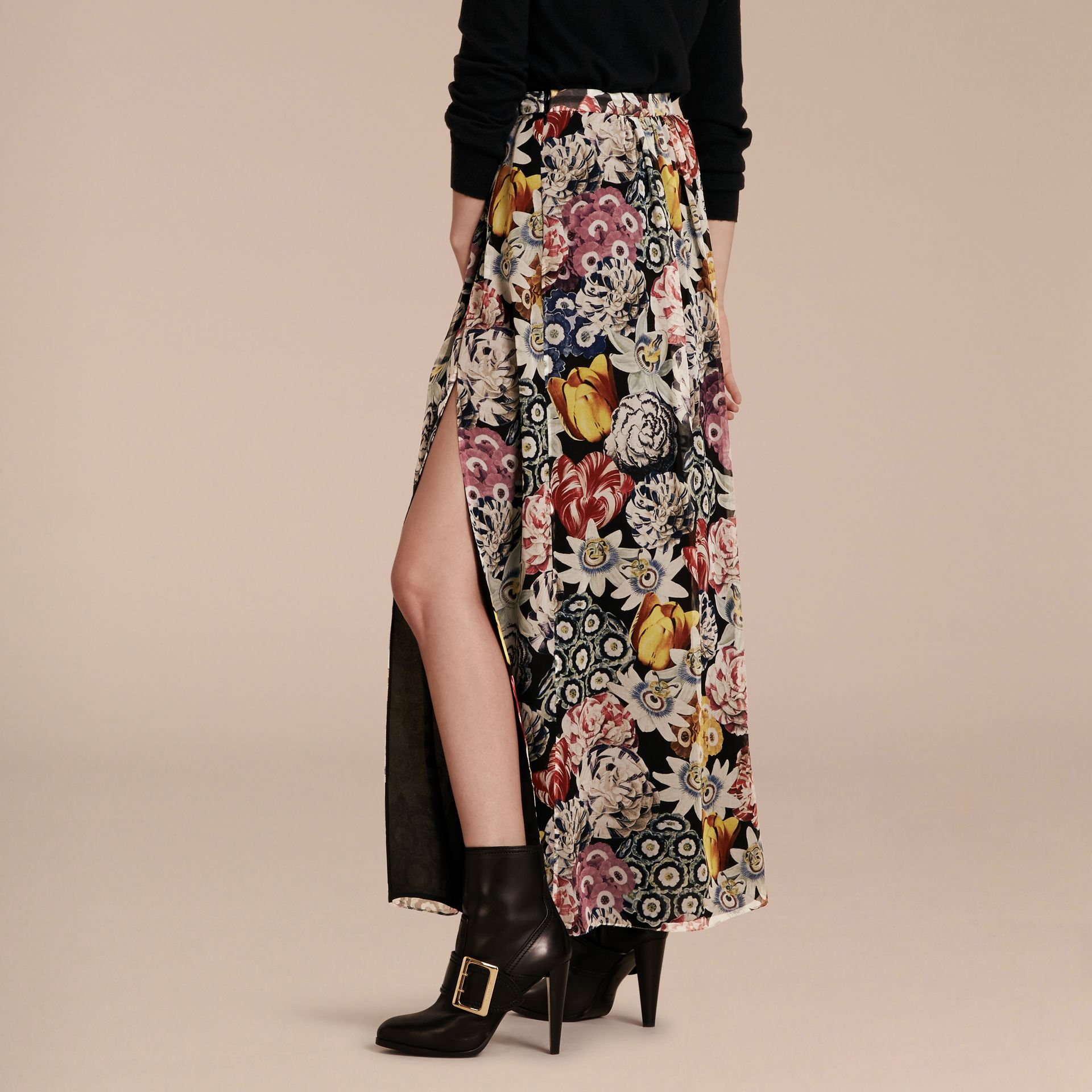Black Floor-length Floral Print Silk Skirt - gallery image 3