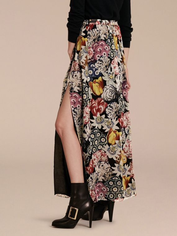 Black Floor-length Floral Print Silk Skirt - cell image 2