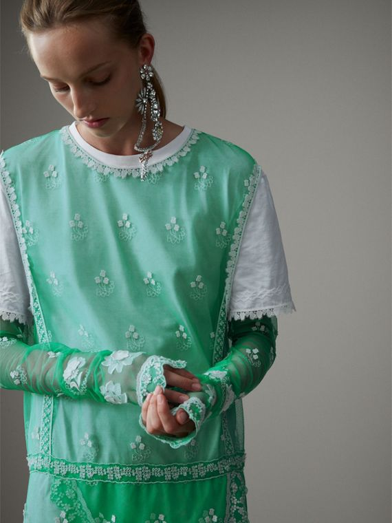 Long-sleeve Embroidered Tulle Dress in Aqua Green/white