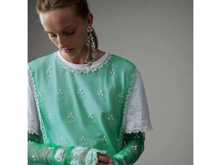 Long-sleeve Embroidered Tulle Dress in Aqua Green/white - Women | Burberry Singapore - cell image 1