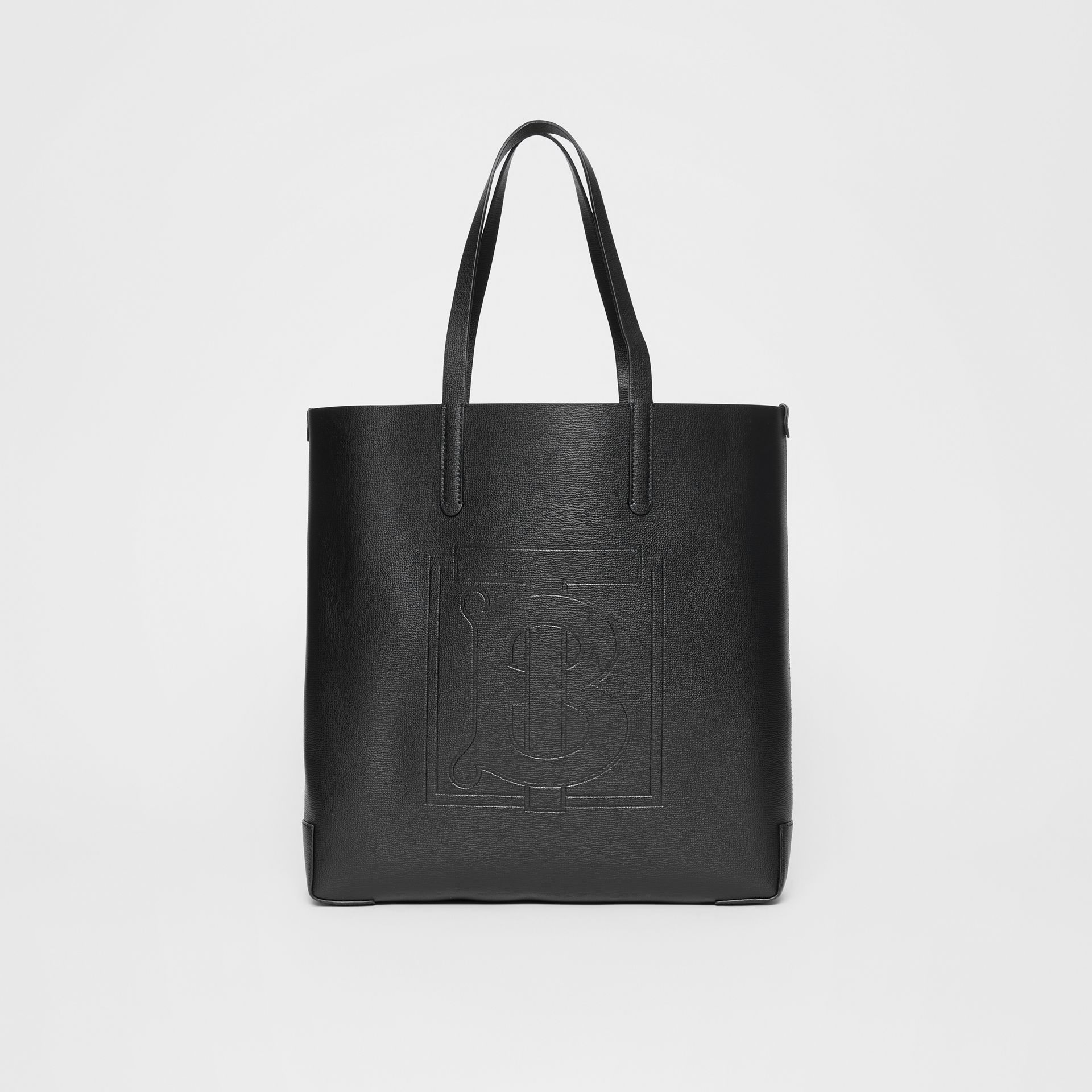 Large Embossed Monogram Motif Leather Tote in Black | Burberry - gallery image 0