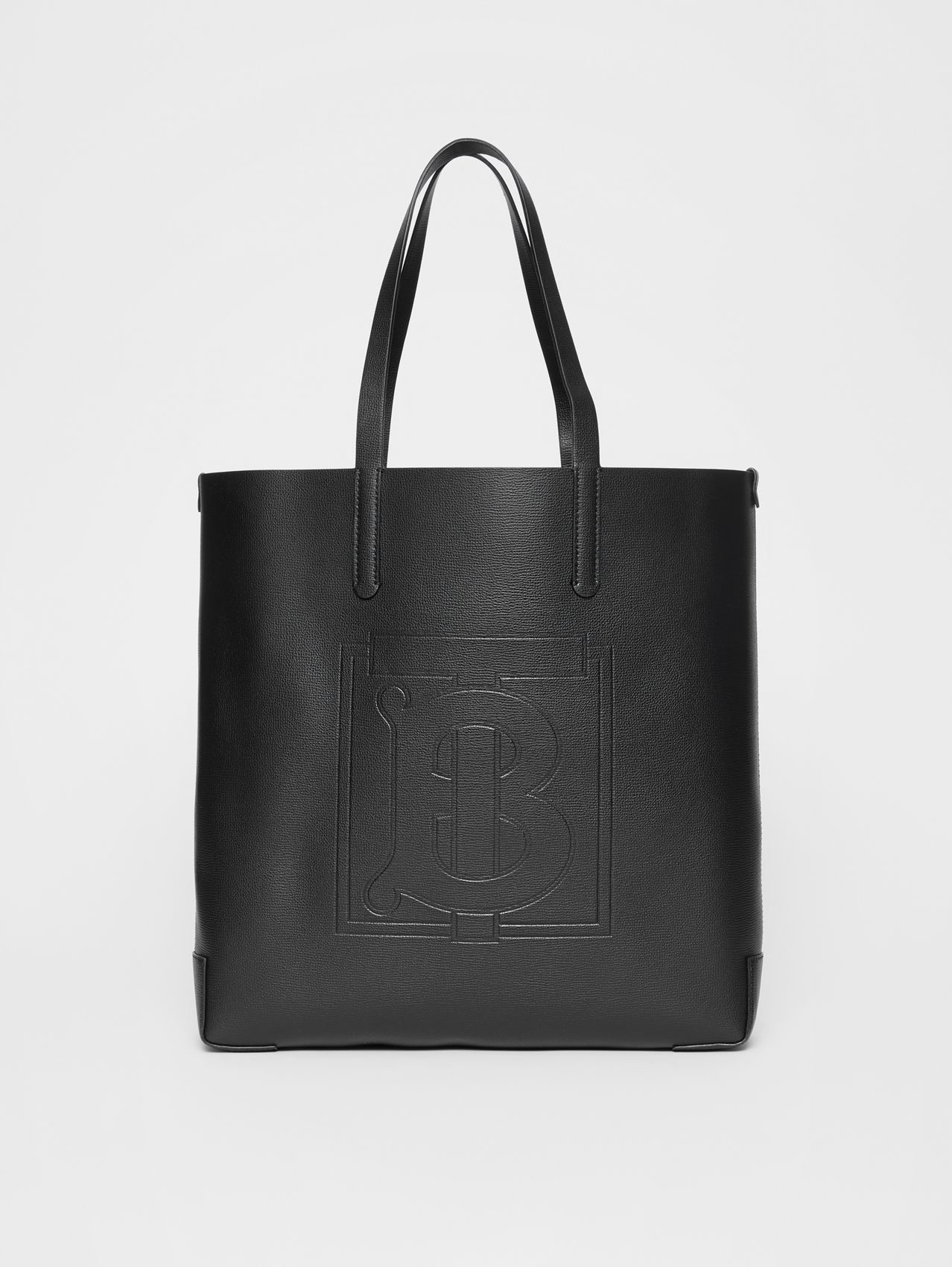 Large Embossed Monogram Motif Leather Tote in Black