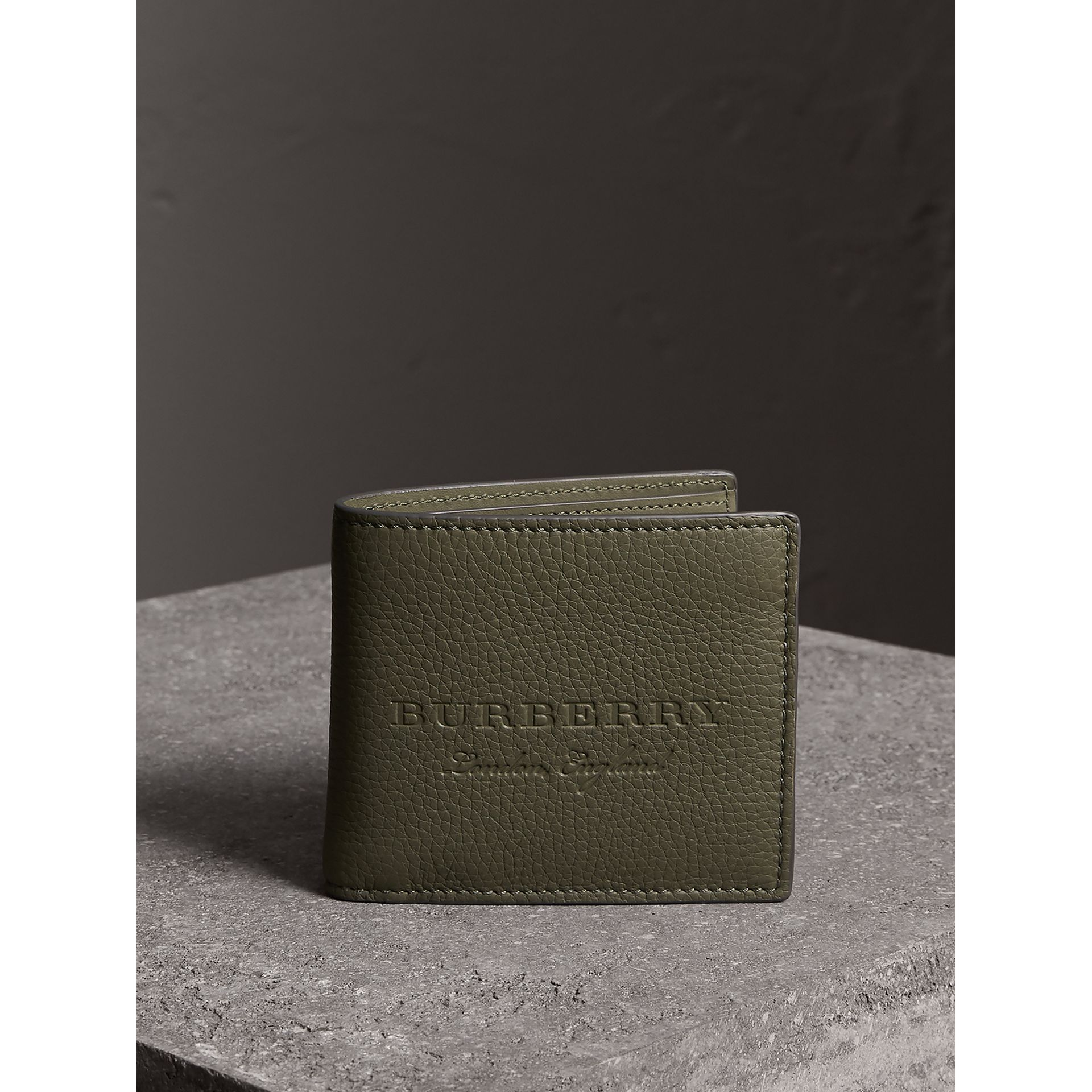 Embossed Leather Bifold Wallet in Slate Green - Men | Burberry - gallery image 5
