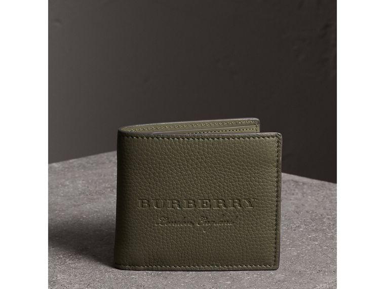 Embossed Leather Bifold Wallet in Slate Green - Men | Burberry - cell image 4