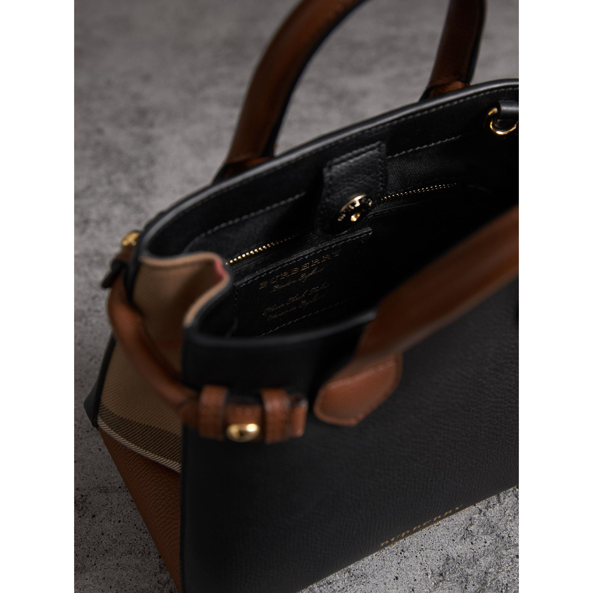 The Baby Banner in Leather and House Check in Black/tan - Women | Burberry United States - gallery image 6