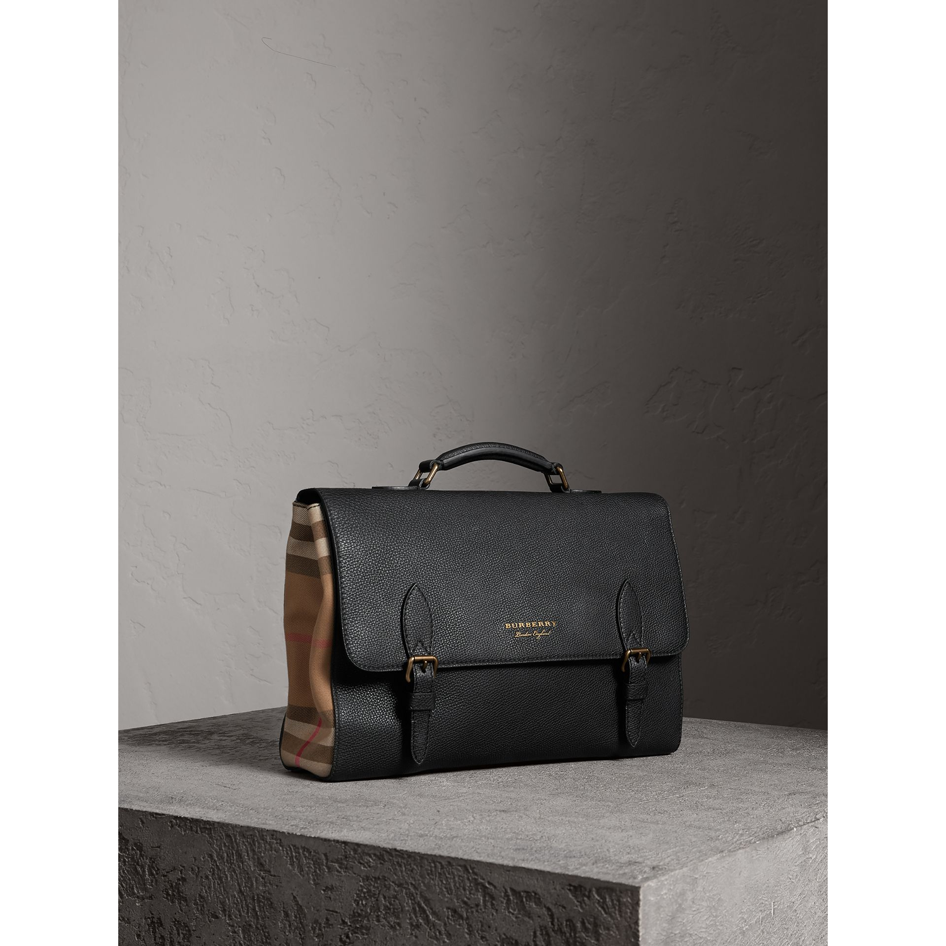 Leather and House Check Satchel in Black - Men | Burberry - gallery image 7
