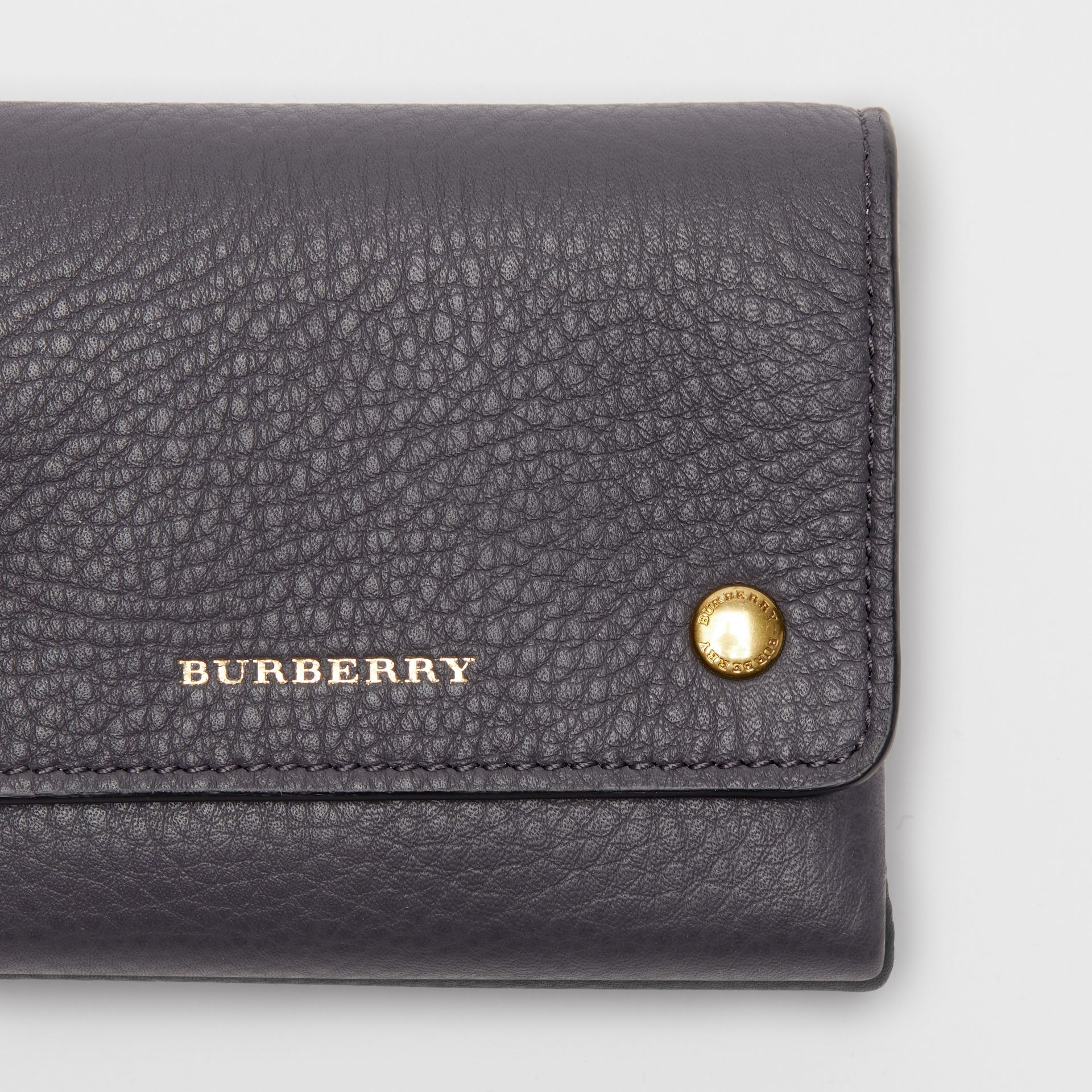 Small Leather Folding Wallet in Charcoal Grey - Women | Burberry - gallery image 1