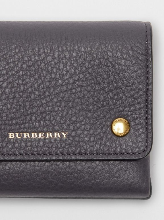 Small Leather Folding Wallet in Charcoal Grey - Women | Burberry - cell image 1