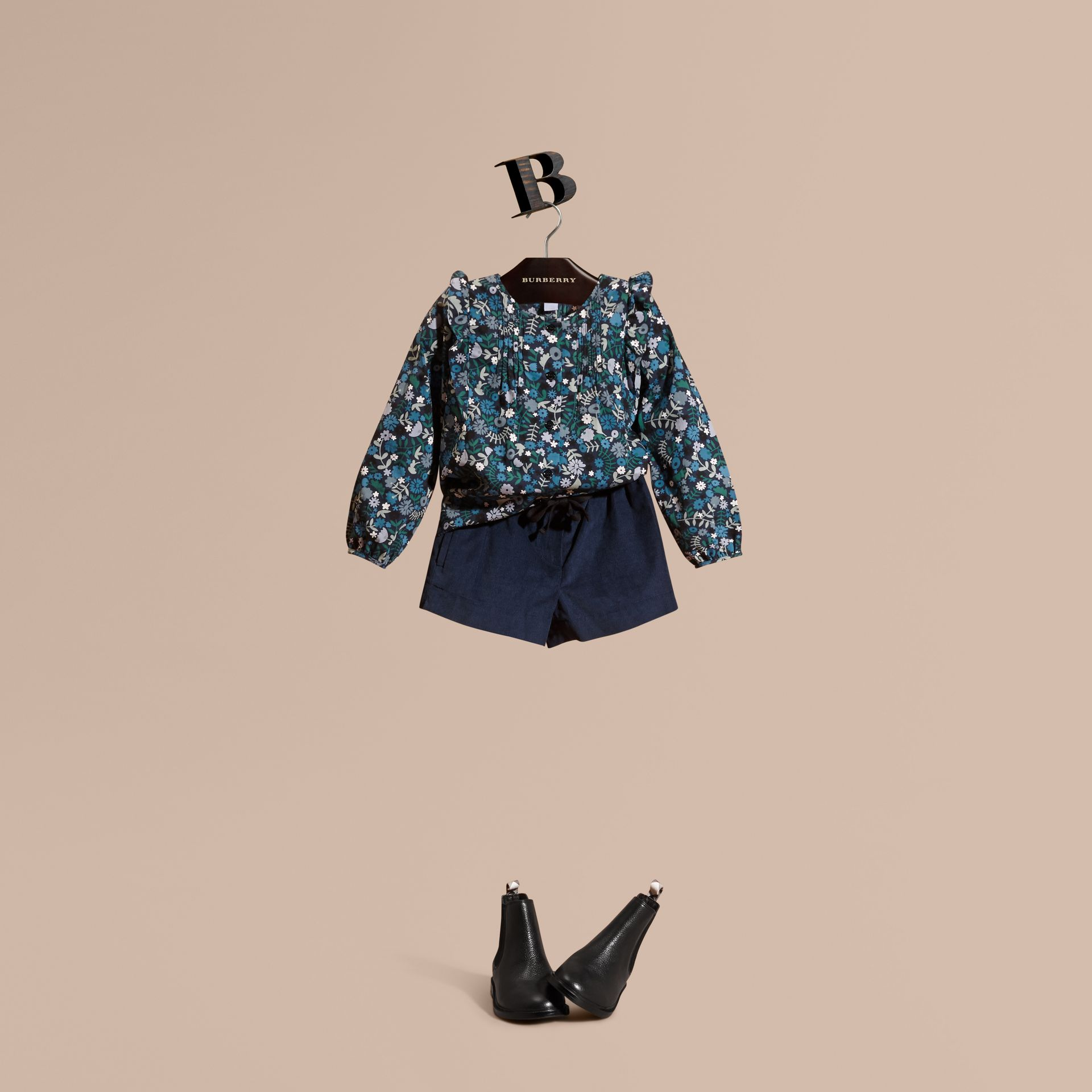 Hydrangea blue Floral Print Cotton Shirt with Ruffle Detail Hydrangea Blue - gallery image 1
