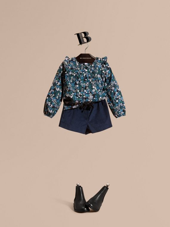 Floral Print Cotton Shirt with Ruffle Detail