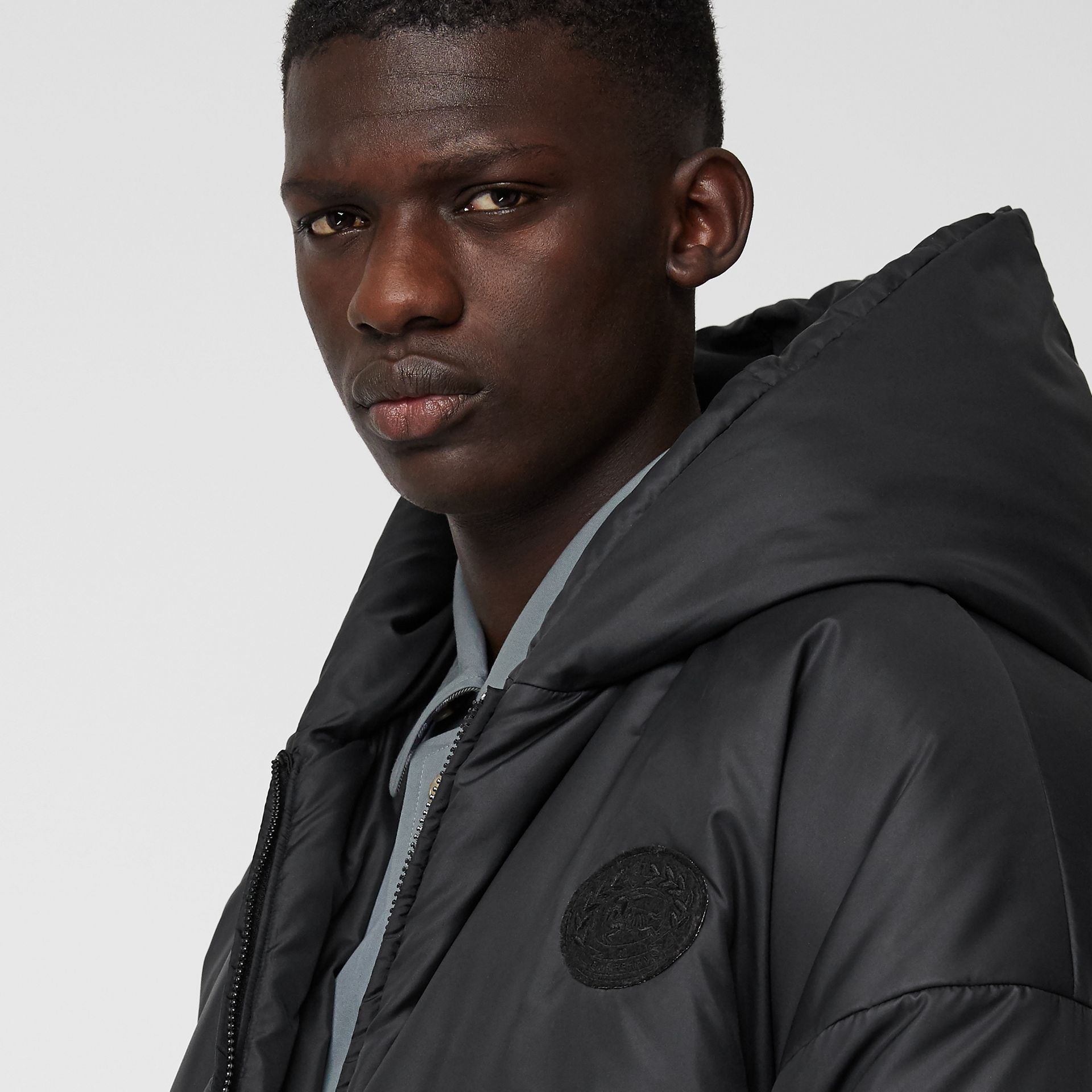 Down-filled Oversized Hooded Coat in Black - Men | Burberry United Kingdom - gallery image 1