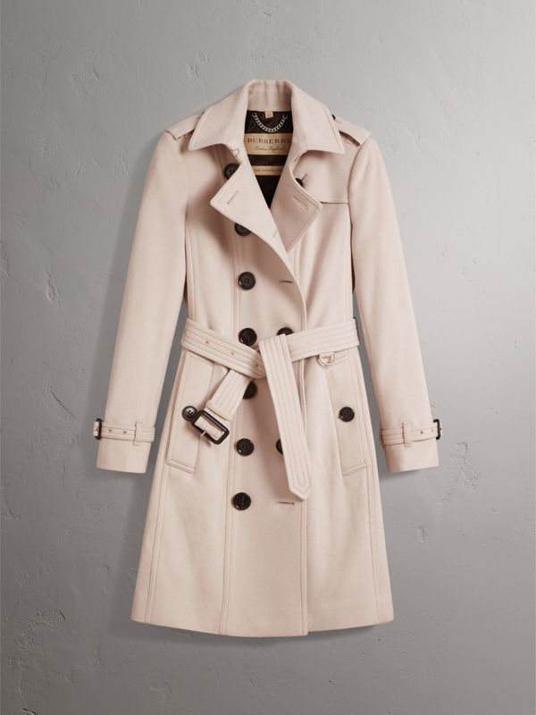 Sandringham Fit Cashmere Trench Coat in Pale Nude - Women | Burberry - cell image 3