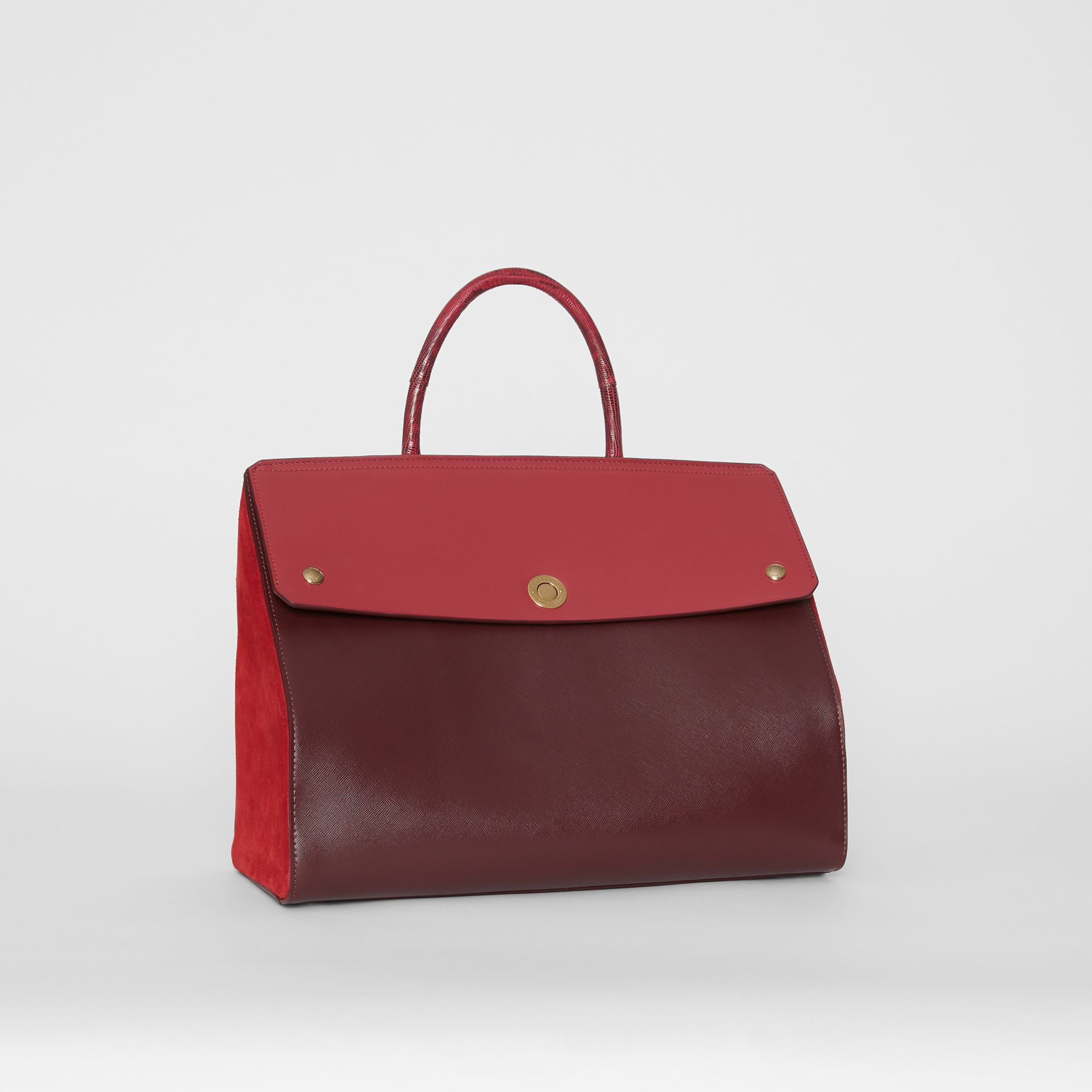 Medium Leather and Suede Elizabeth Bag in Crimson - Women | Burberry Australia - gallery image 6