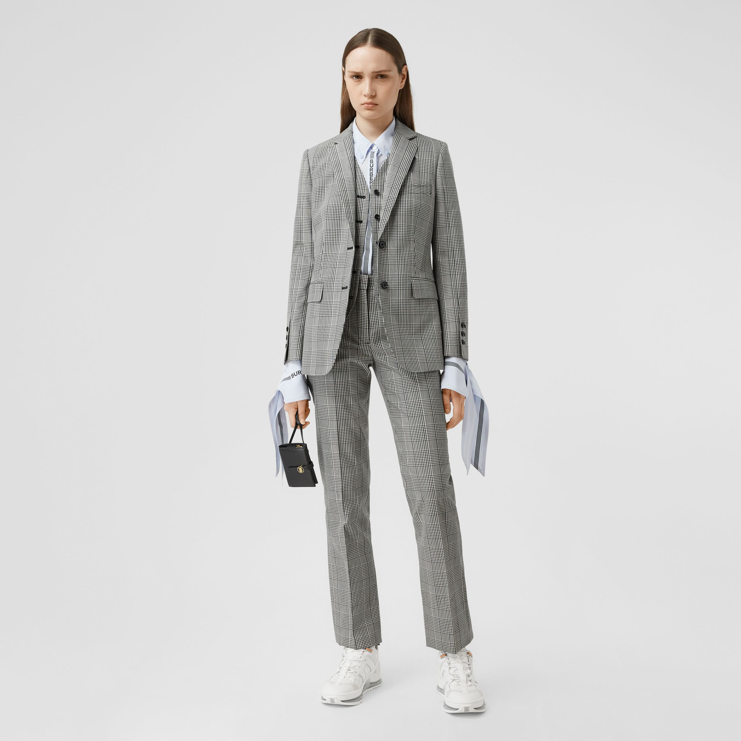 Cropped Check Technical Wool Tailored Trousers in Black - Women | Burberry - 1