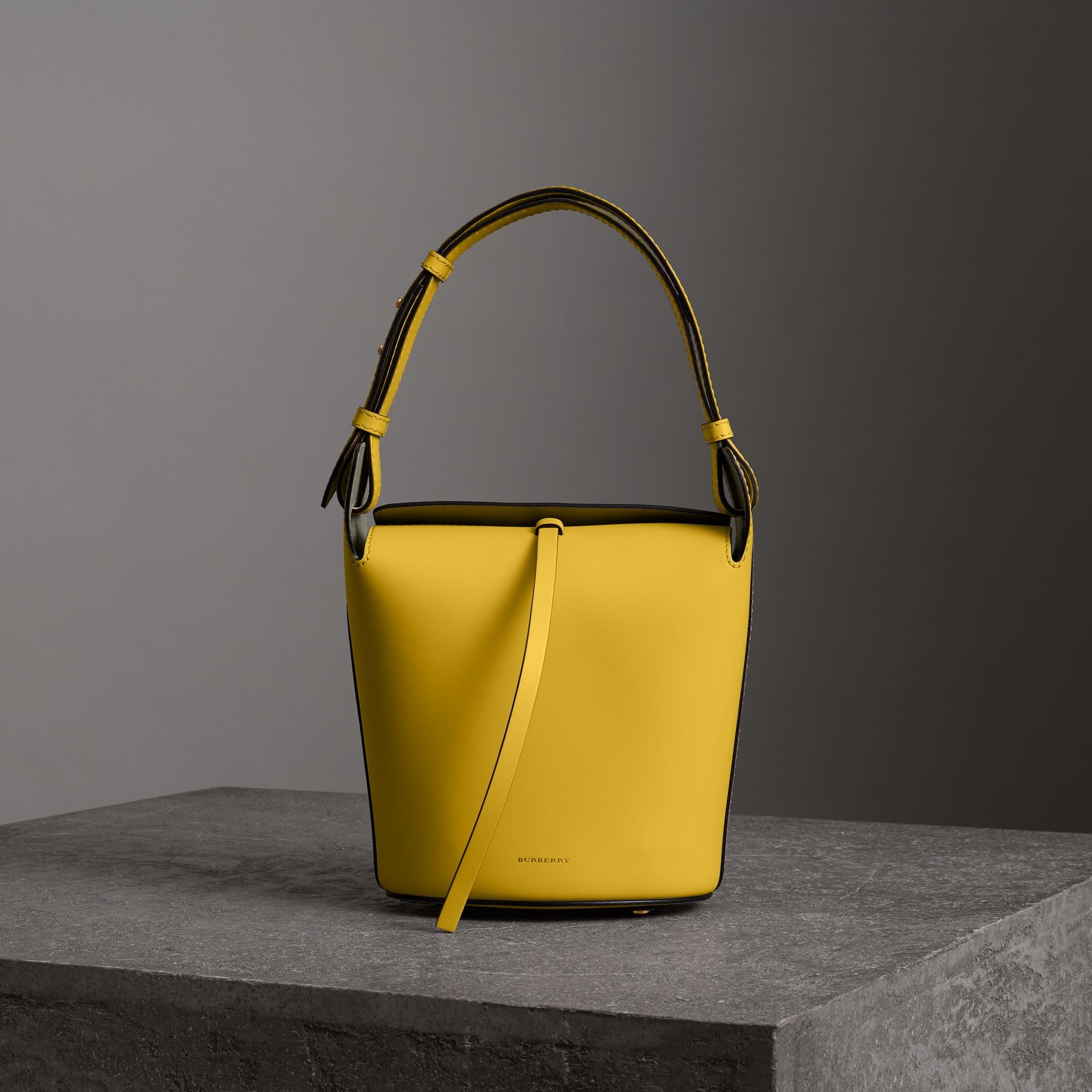The Small Leather Bucket Bag in Bright Larch Yellow - Women | Burberry United States - gallery image 0