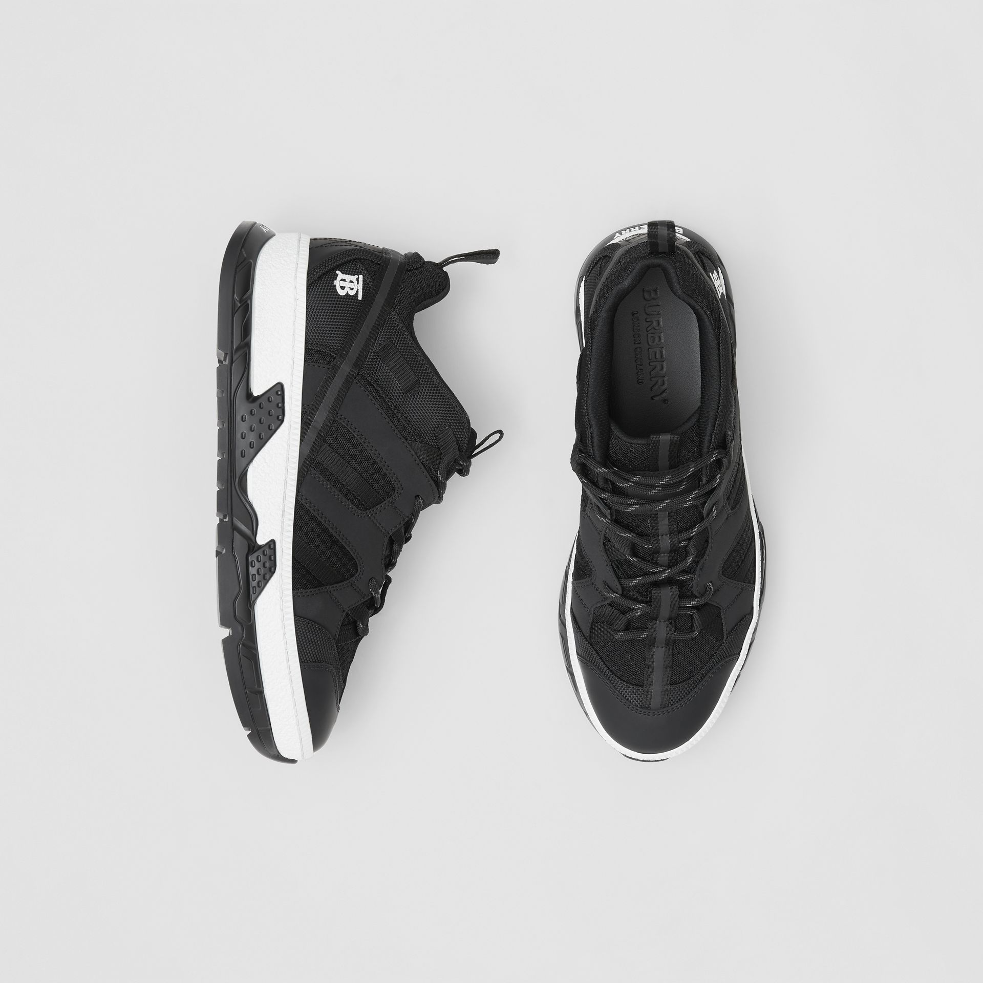 Monogram Motif Mesh and Nubuck Sneakers in Black - Men | Burberry United Kingdom - gallery image 0