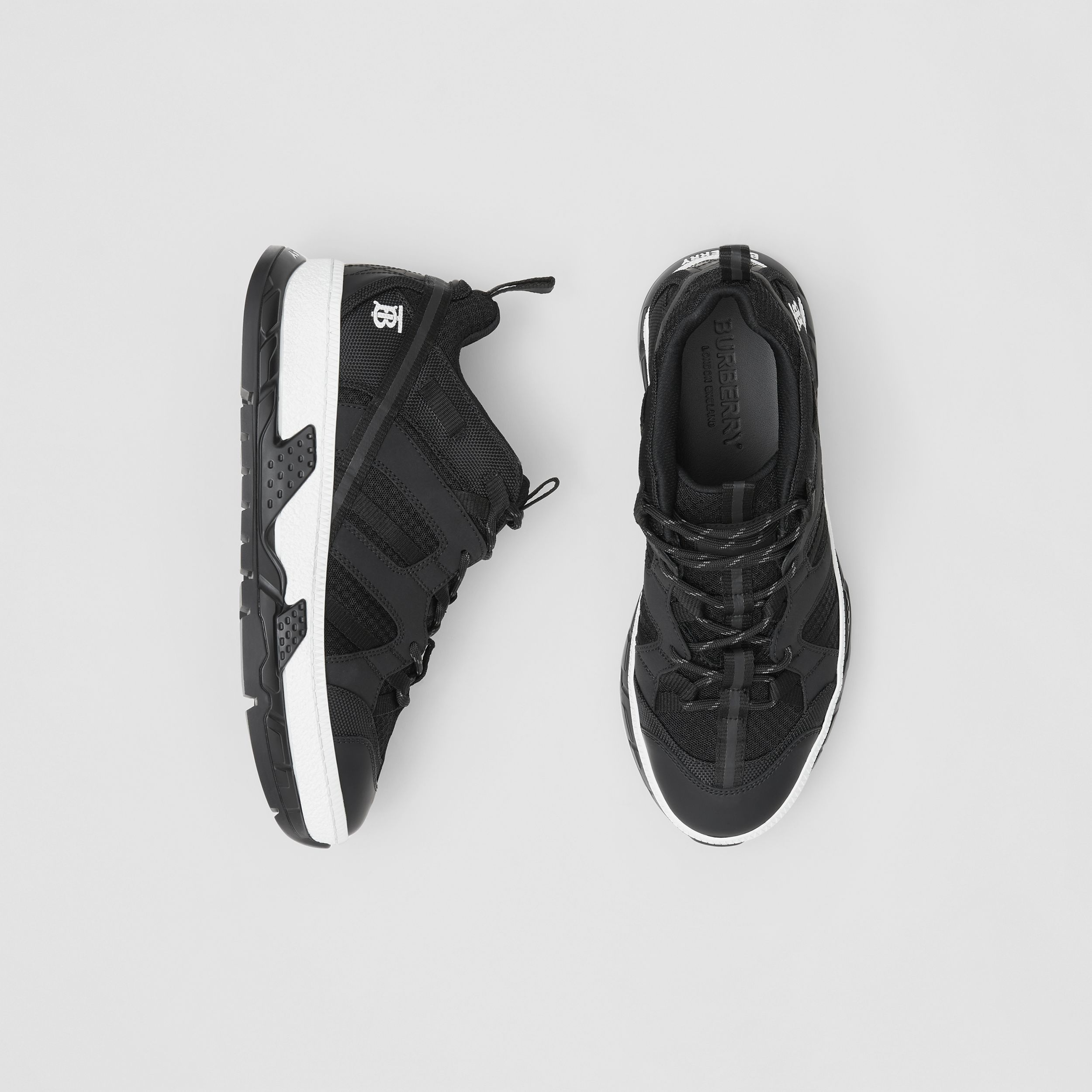 Mesh and Nubuck Union Sneakers in Black - Men | Burberry - 1