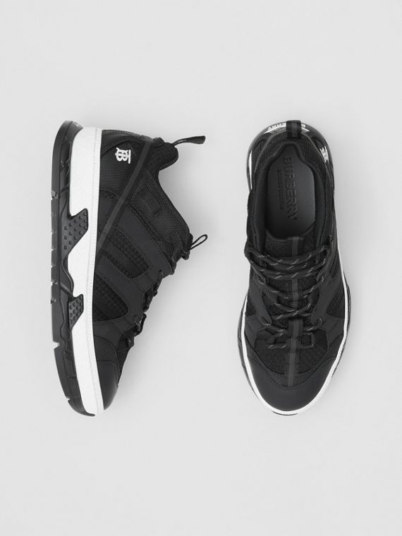 Mesh and Nubuck Union Sneakers in Black