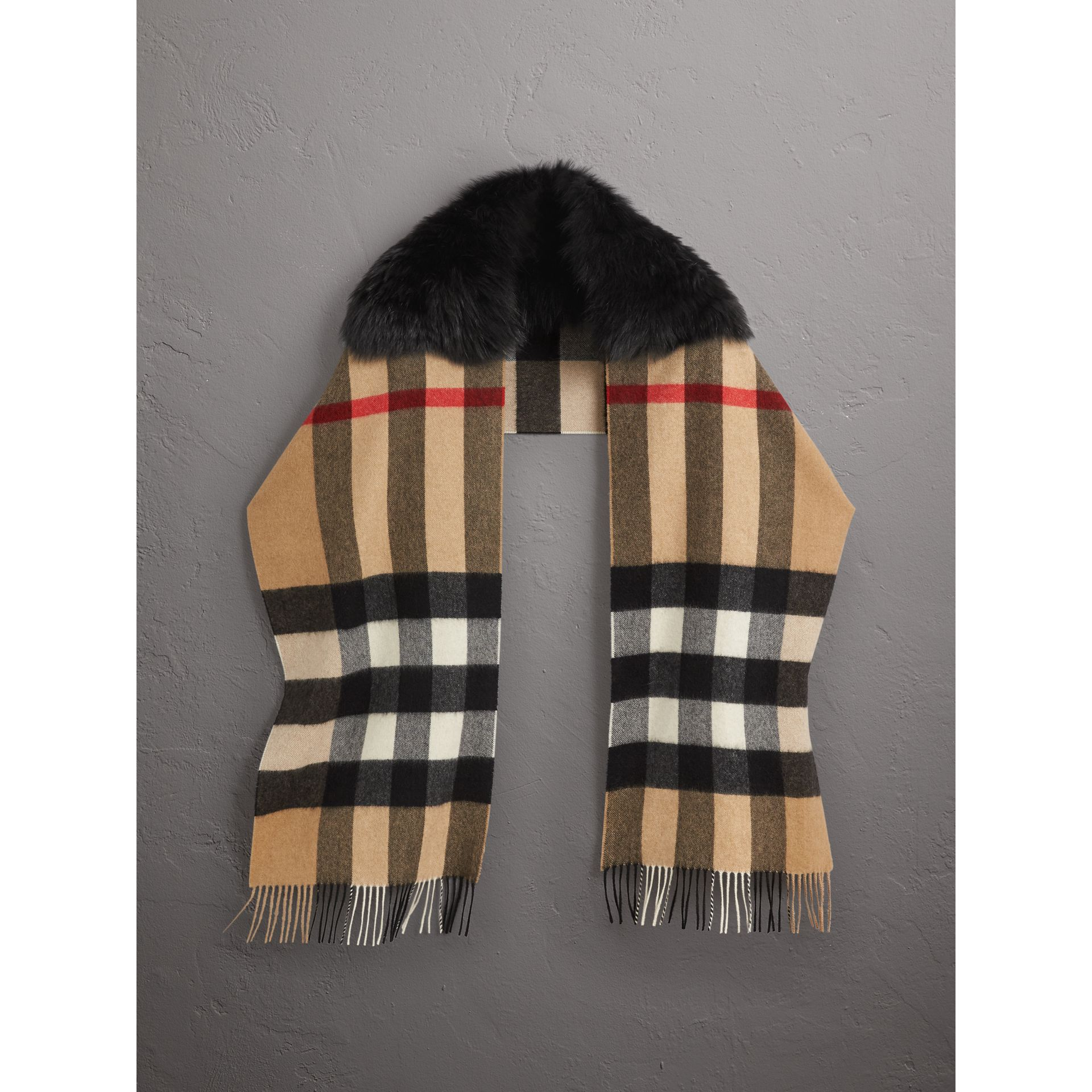 Fox Fur Trim Check Cashmere Scarf in Camel/black - Women | Burberry - gallery image 0