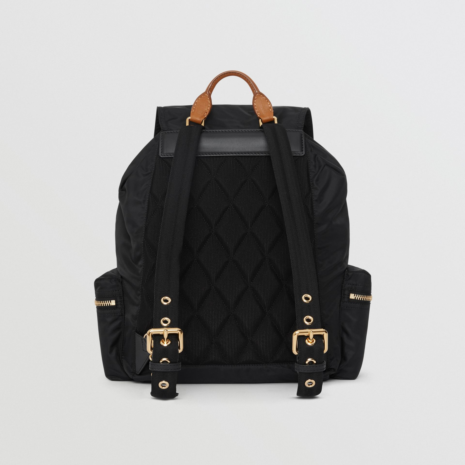 The Large Rucksack in Technical Nylon and Leather in Black - Women  c027e69e975aa