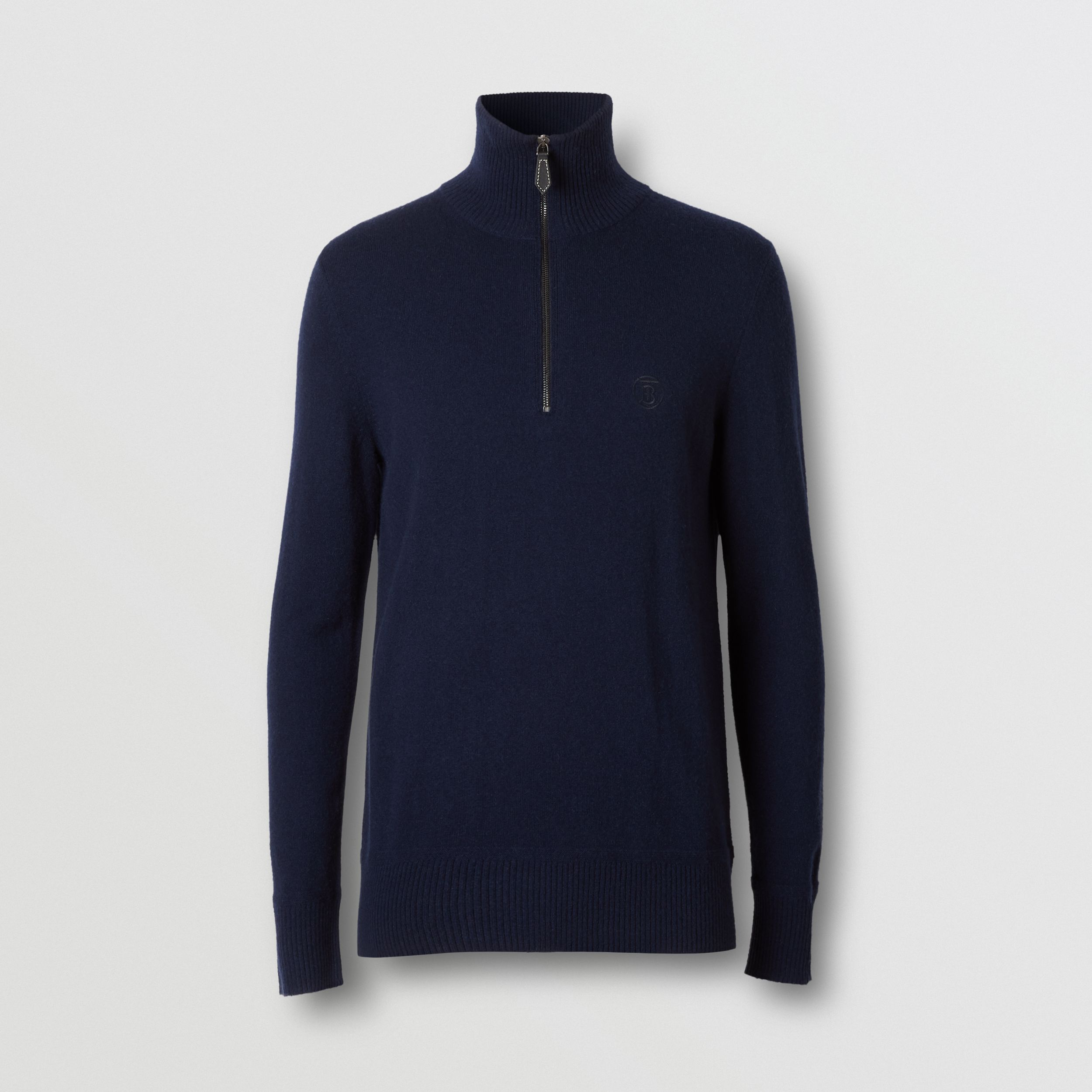 Monogram Motif Cashmere Funnel Neck Sweater in Navy - Men | Burberry - 4
