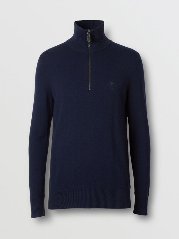 Monogram Motif Cashmere Funnel Neck Sweater in Navy - Men | Burberry Hong Kong S.A.R - cell image 3